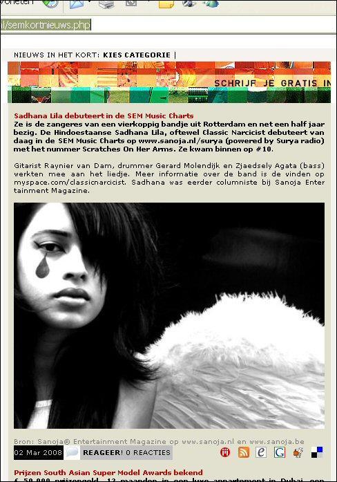 Publicatie 'Sadhana Lila debuteerd in de SEM chartlist' op website 'Sanoja EntertainmentMagazine'