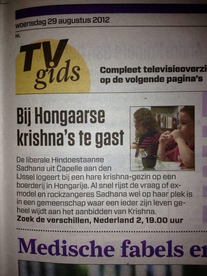 Publicatie 'Sadhana Lila bij Hongaarse Krishna's te gast 'Het AlgemeenDagblad'