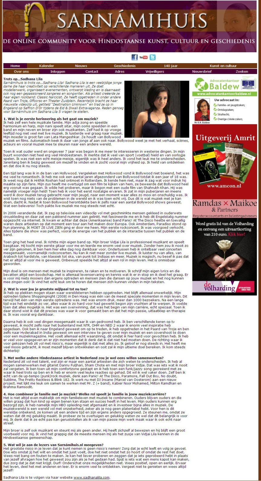 Publicatie interview Sadhana Lila website 'Het Sarnamihuis'