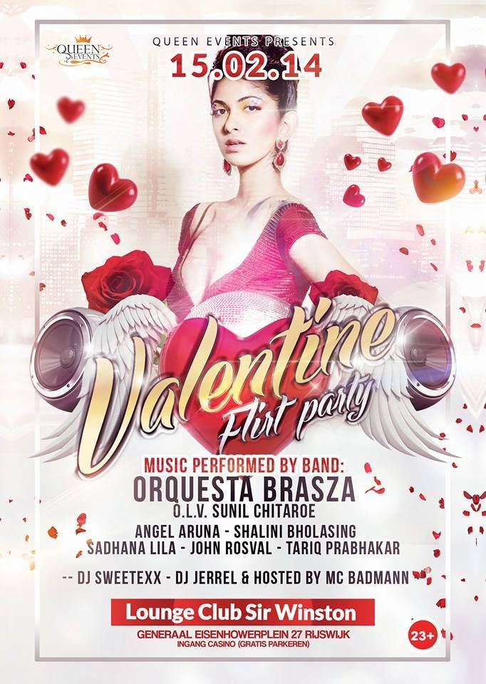 Publicatie Sadhana Lila '2FAMOUSCRW live in Lounge Club Sir Winston, Valentine Flirt Party' flyer