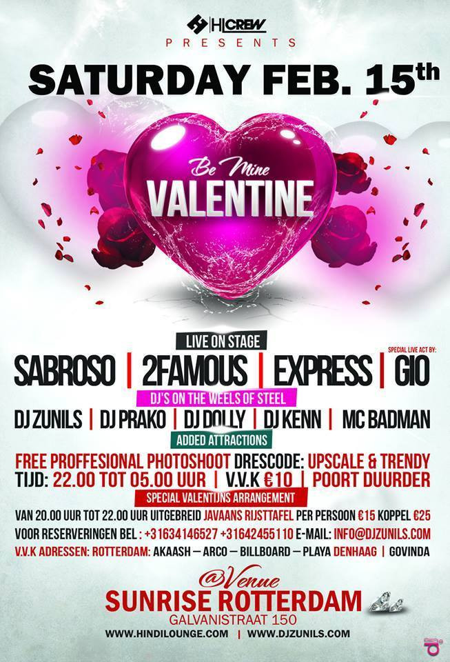 Publicatie Sadhana Lila '2FAMOUSCRW live in Sunrise, Be Mine Valentine' flyer