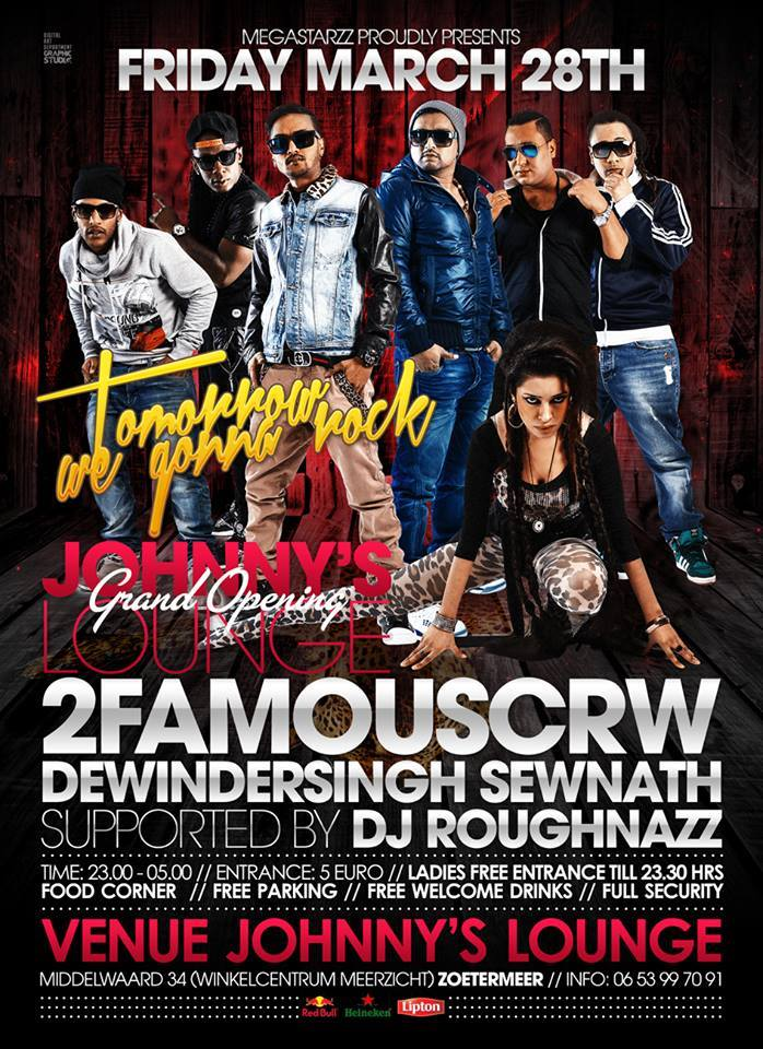 Publicatie Sadhana Lila '2FAMOUSCRW live in Johnny's Lounge, Grand Opening'flyer