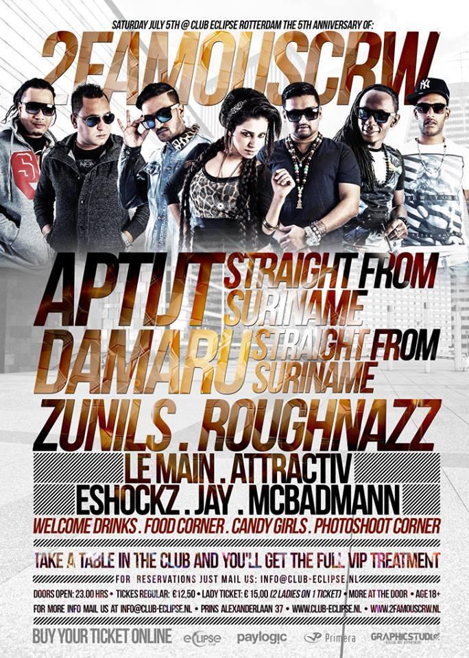 Publicatie Sadhana Lila '2FAMOUSCRW live in club Eclipse, 5th Anniversary 2F'flyer