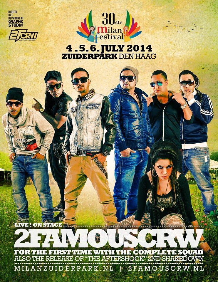 Publicatie Sadhana Lila '2FAMOUSCRW live in Zuiderpark, Milan Festival 2014'flyer