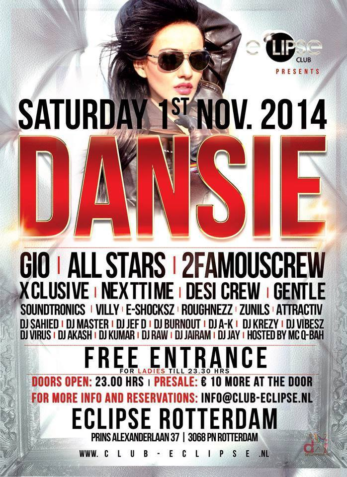 Publicatie Sadhana Lila '2FAMOUSCRW live in club Eclipse, Dansie'flyer
