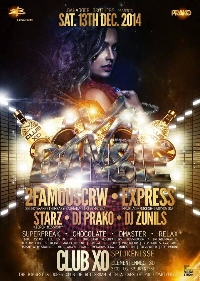 Publicatie Sadhana Lila '2FAMOUSCRW live in club XO, Dansie'flyer