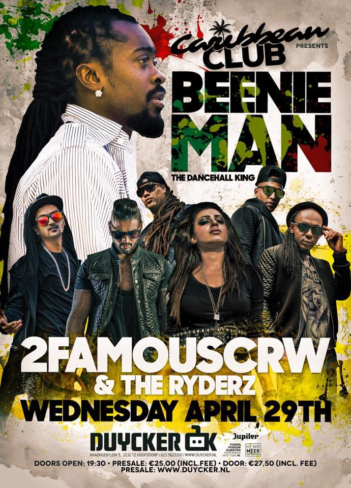 Publicatie Sadhana Lila '2FAMOUSCRW live in de Duycker, Beenie Man tour 2015'flyer