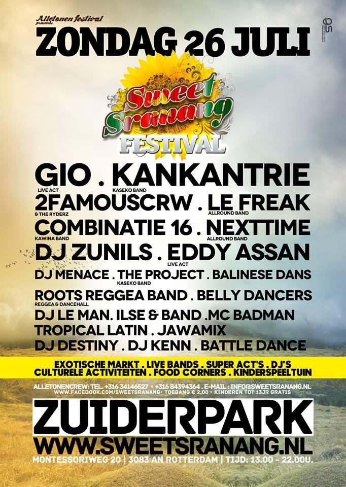 Publicatie Sadhana Lila '2FAMOUSCRW live in Zuiderpark, Sweet Sranang Festival'flyer