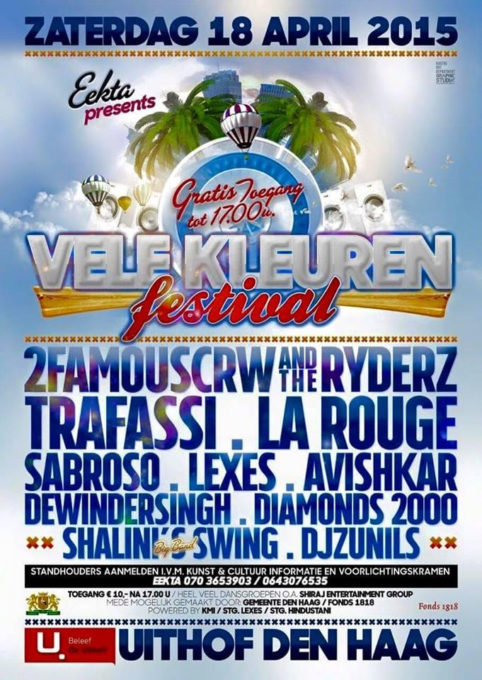 Publicatie Sadhana Lila '2FAMOUSCRW live in de Uithof, Vele Kleuren Festival'flyer