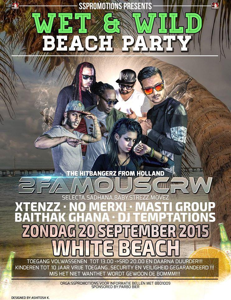 Publicatie Sadhana Lila '2FAMOUSCRW live op White Beach, Suriname tour 2015'flyer