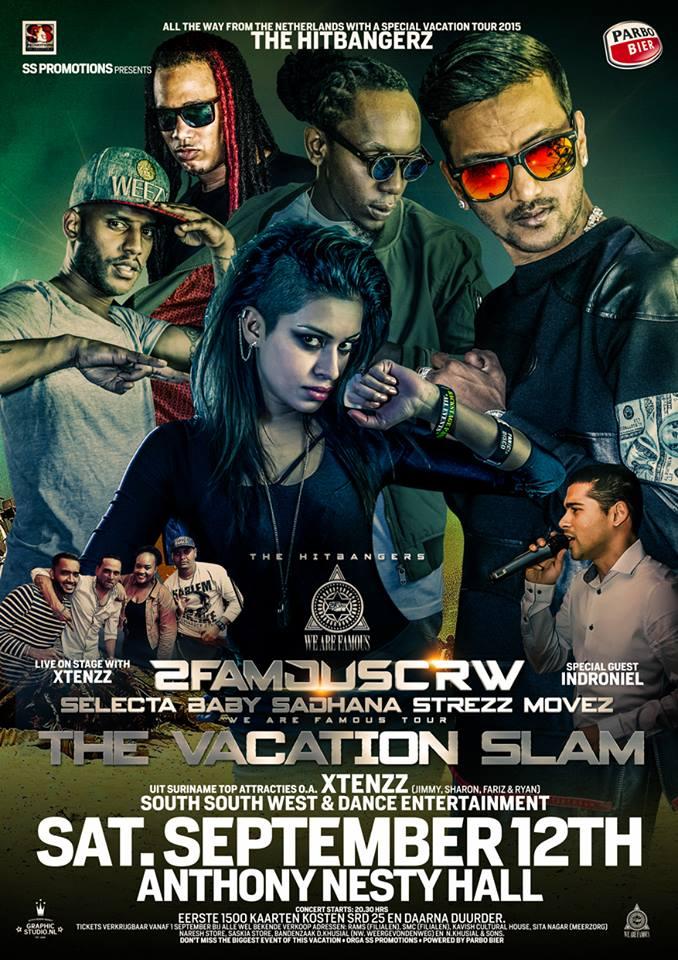 Publicatie Sadhana Lila '2FAMOUSCRW live in NIS, Suriname tour 2015'flyer