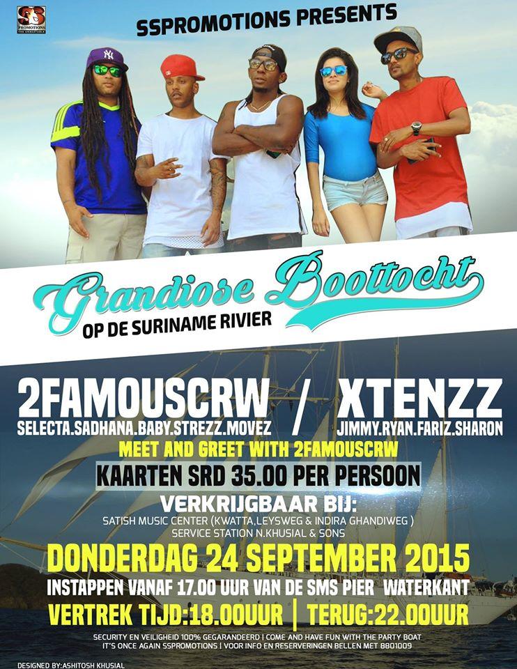Publicatie Sadhana Lila '2FAMOUSCRW live tijdens de Grandioze boottocht Suriname Rivier, Suriname tour 2015'flyer