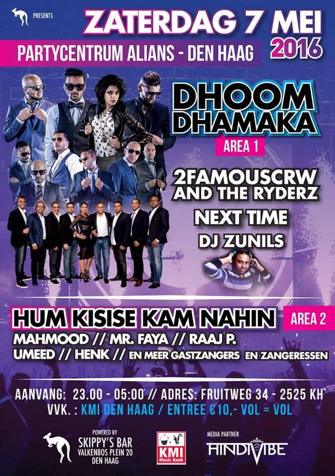 PUBLICATIE SADHANA LILA '2FAMOUSCRW LIVE IN OPERA ALIANS, DHOOM DHAMAKA'FLYER