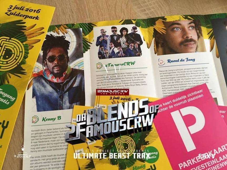 PUBLICATIE SADHANA LILA '2FAMOUSCRW LIVE IN ZUIDERPARK, DIVERCITY FESTIVAL'FLYER