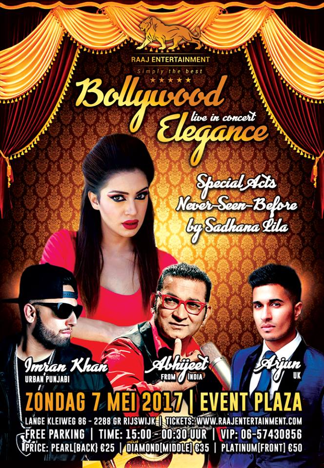 PUBLICATIE SADHANA LILA 'LIVE IN EVENT PLAZA, BOLLYWOOD ELEGANCE' FLYER