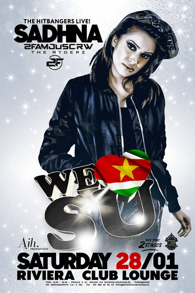 PUBLICATIE SADHANA LILA '2FAMOUSCRW LIVE IN RIVIERA CLUB LOUNGE, WE LOVE SU'FLYER
